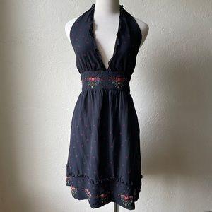 Marciano black silk halter top dress size L